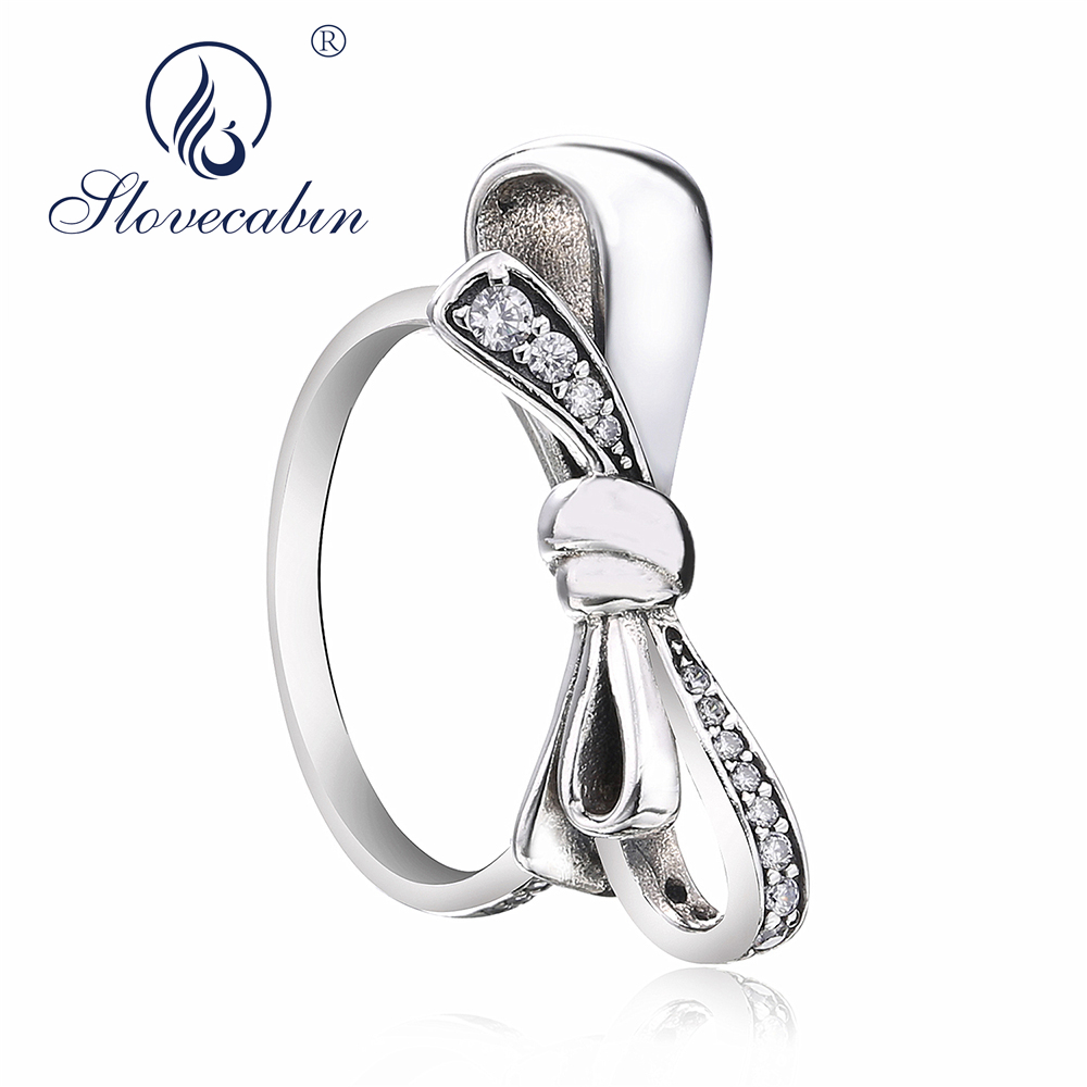 Slovecabin Fine Jewelry 925 Sterling Silver Brilliant Bow Ring For Women Lovely Design Animal Silver 925 Wedding Ring Anillos