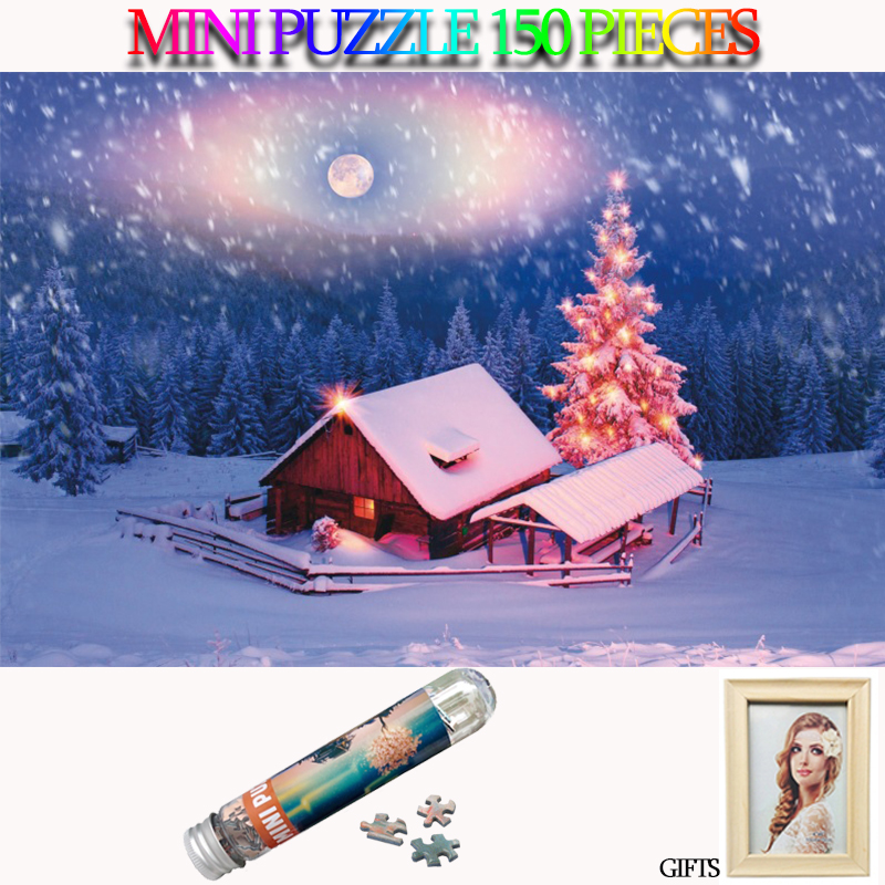MOMEMO Snowy Night Mini Jigsaw Puzzle 150 Pieces Paper Tube Landscape Puzzles Games Toys for Adults Kids Teens Home Decor