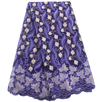 Swiss Voile Lace In Switzerland African Lace Fabric Purple High Quality Nigerian Dry Lace Fabric Embroidered Cotton Material