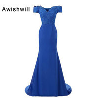 New Design Mermaid Evening Dresses 2019 Floor Length Chiffon Appliques Special Occasion Dresses Party Robe De Soiree with Train