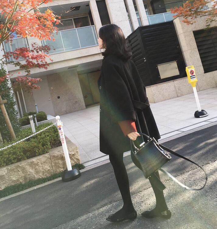 Manteau Black Coats Longues Femme 2019 Élégant Manteaux Grande À Décontracté Femmes Hiver De Survêtement Trench Taille Laine Mélanges Ds50131 Manches Pour CnqfUwU5