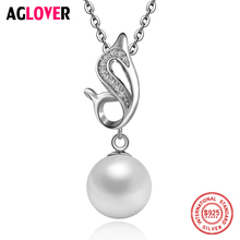 925 Silver Necklace Charming Women Round 10mm Natural Pearl Pendant Necklace 100% Sterling Silver Luxury Jewelry charming pair of round 9 10mm south sea round grey pearl earring