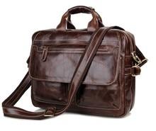 Top Quality 100% genuine leather Men Messenger bags Shoulder bag for men CrossBody Vintage Business Briefcase Laptop #MD-J7085