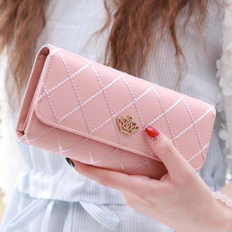 Long Wallets Purses Card-Holder Hasp Phone-Bag Pocket Money-Coin Ladies Clutch Plaid