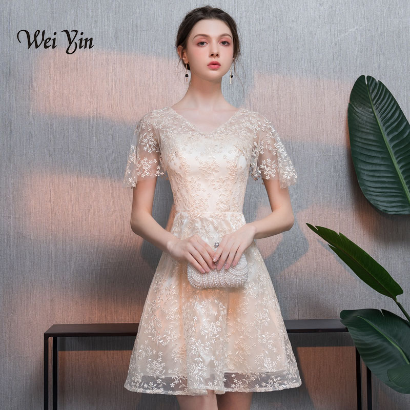weiyin sexy v neck   cocktail     dress   red short sleeveabove knee a line gown women party formal short   cocktail     dresses   WY827
