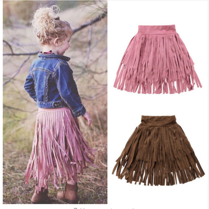 Toddler Baby Girls Tassel Skirts Kids Long Length Party Pageant Skirt Clothes