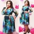 Elegant Casual Women Print dresses big size new 2017 plus size women Chiffon dress o-neck long sleeve Knee-Length dress 5XL 6XL