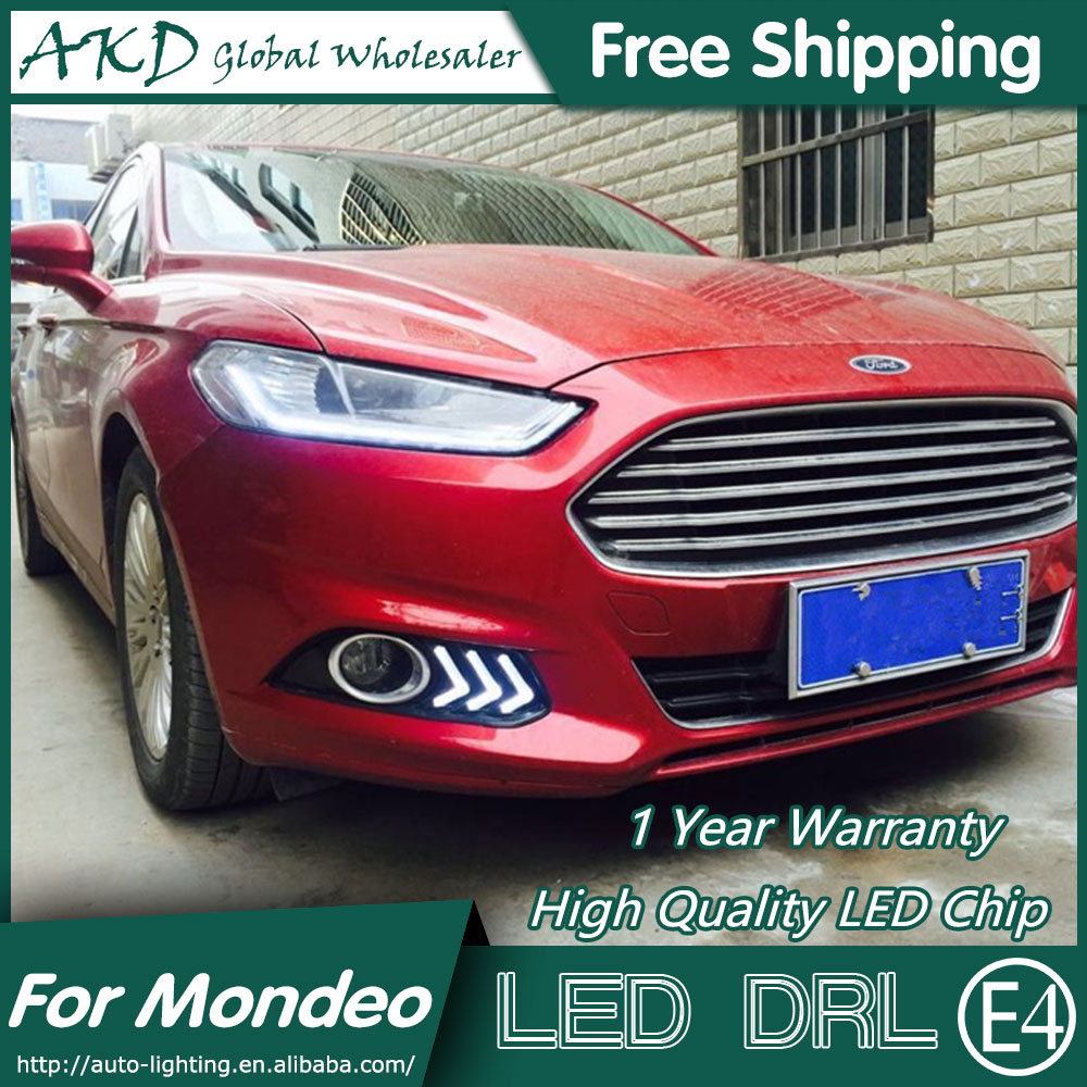 AKD Car Styling for Mondeo DRL 2013-2015 New Mondeo DRL LED Fog Lamp Daytime Running Light Fog Light Parking Accessories akd car styling for kia sportage r drl 2014 new sportager led drl korea design led running light fog light parking accessories