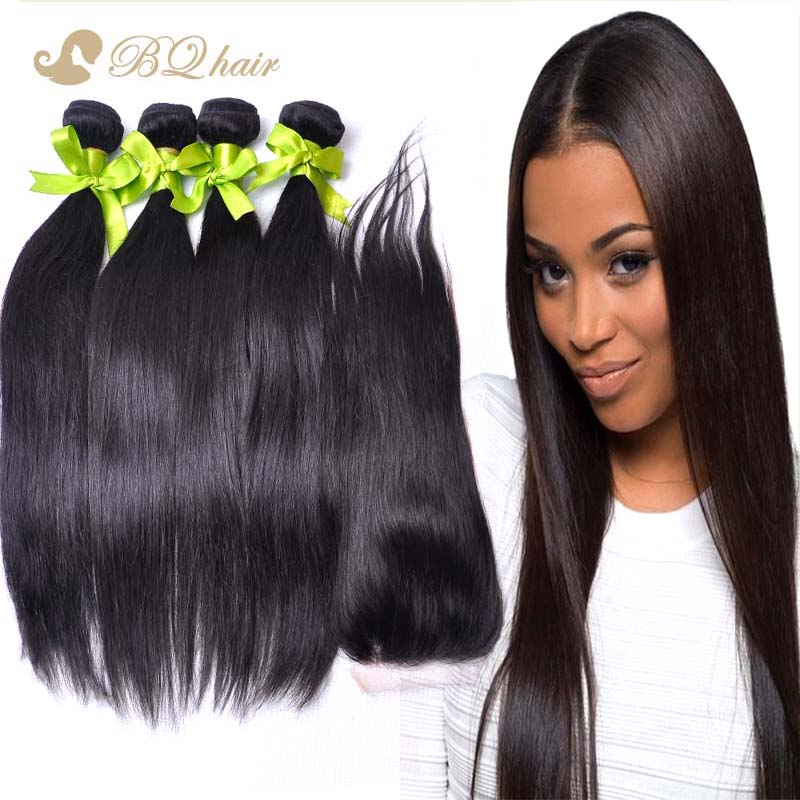 4 Bundles Malaysian Straight Hair With Lace Closure Buy Queen human hair extension 7A Cheap unprocessed