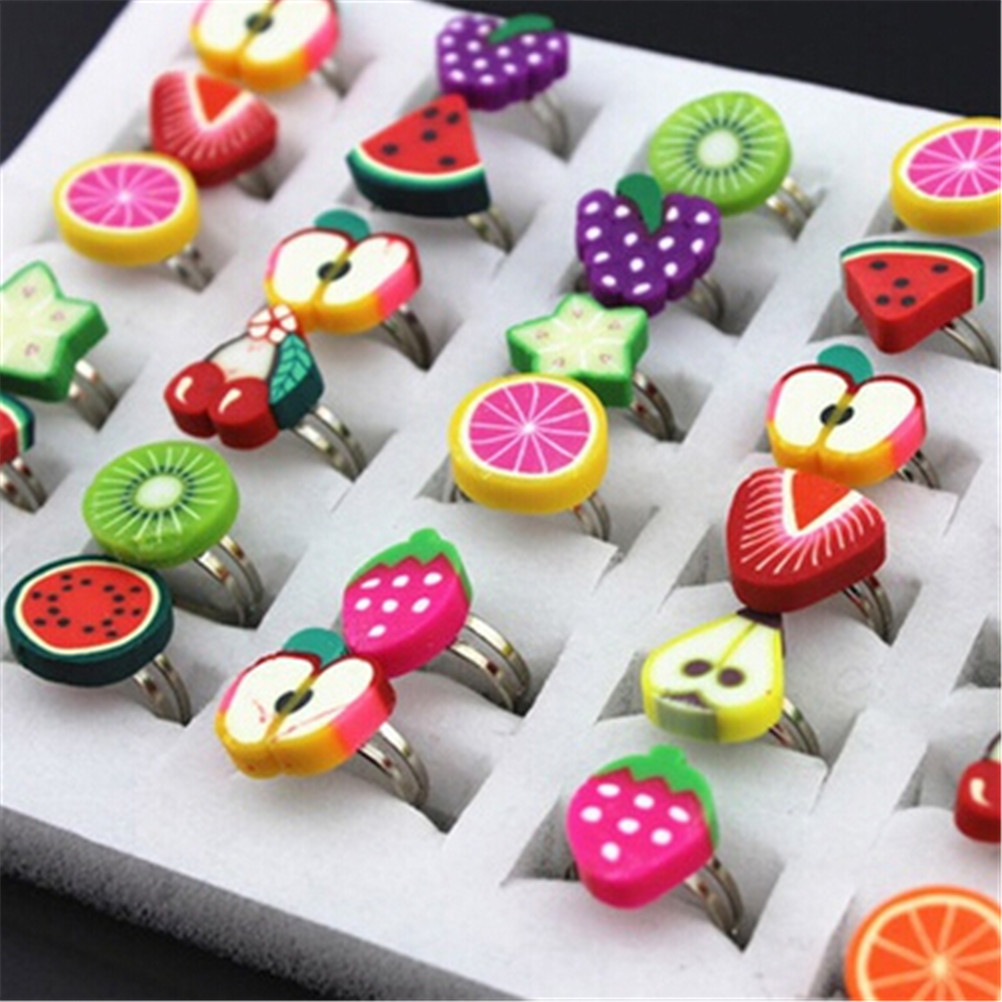 10pcs Cute Adjustable Flower Wedding Rings Fruite Finger Rings For Kids Children Gift Polymer Clayplay House Easy And Simple To Handle Home