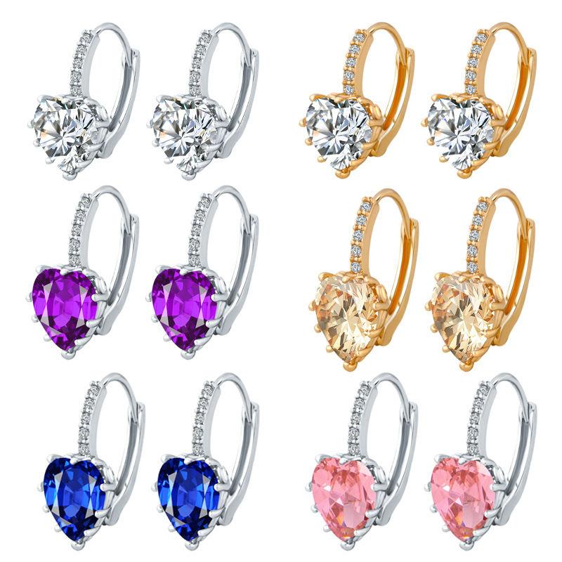 2018 Top Selling Gold-Color Luxury Hoop Earring Fashion Brilliant Crystal Heart Ladies Wedding Earring
