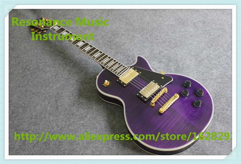 New Arrival Purple Flamed Maple Finish LP Electric Guitar China Black Plate G Custom Guitar jimmy page standard lp guitar flamed maple free shipping