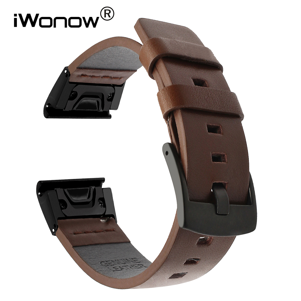 Quick Fit Genuine Leather Watchband 20/22/26mm for Garmin Fenix 5X/5X Plus/5S/5/3/3HR/Forerunner 935 Watch Band Wristband Strap eache 26mm genuine leather watchband for garmin fenix 3 crazy horse leather watch band strap for fenix 3 men watch accessories