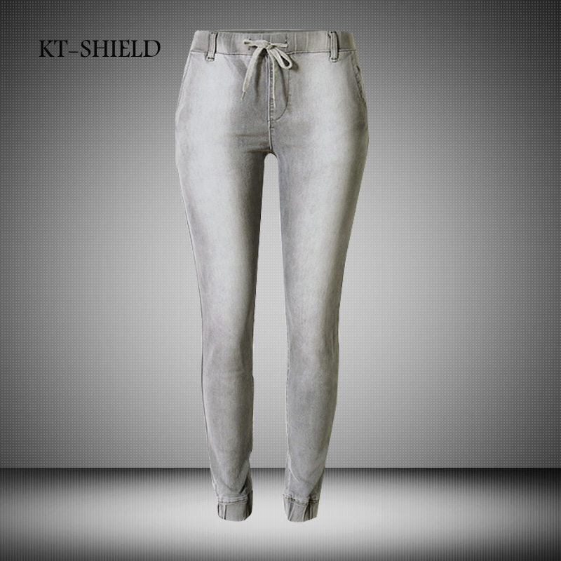 Sexy Skinny Jeans For Women Plus Size Pencil Pants Elastic Waist Denim Jeans Casual Trousers Pleated Brand Ripped Jeans Femme 44 elastic skinny pencil jeans for women