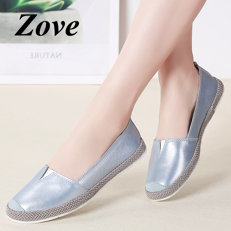 ZOVE Women Flats Loafers 2019 Spring   Leather     Suede   Spicing Flat Shoes Casual Ladies Slip On Moccaisns Flats Woman Driving Shoes