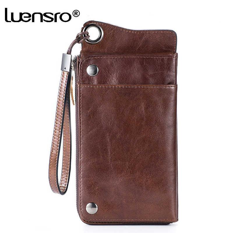 LUENSRO portfel męski skórzany Vintage długie portfele mężczyźni 100% prawdziwej skóry portfel portmonetka pokrowiec na karty na zamek monety kiesy dla iPhone7S
