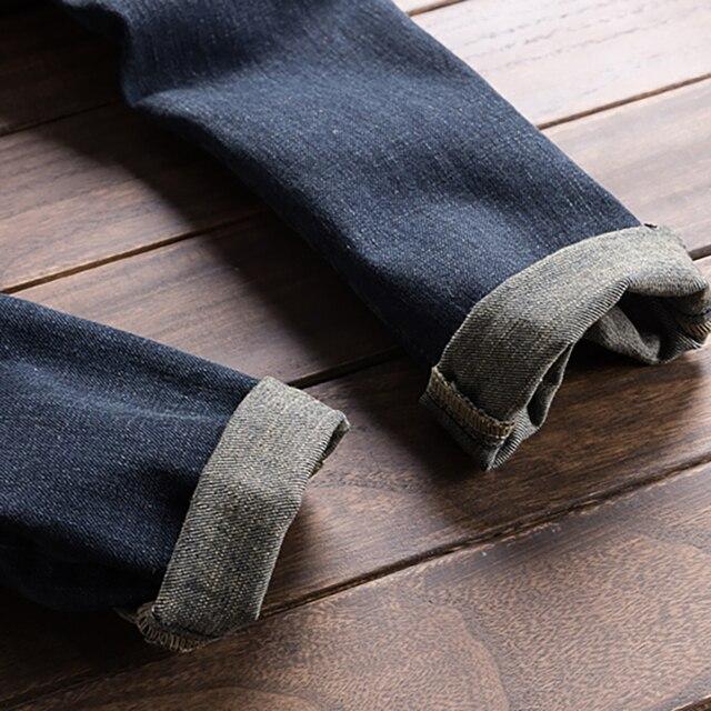 Sokotoo Men's dark blue denim bib overalls Slim fit jeans Casual pocket cargo pants Suspenders jumpsuits 5