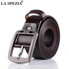 LA SPEZIA Men Belt Brown Genuine Leather Luxury Pin Buckle Italian High End Quality Casual Cowhide Male