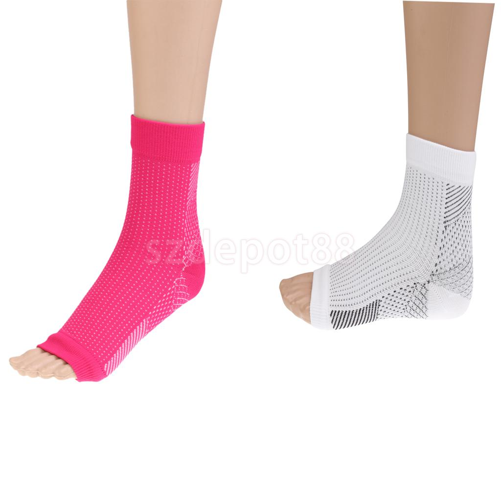 Comfortable Foot Compression Sleeve Anti Fatigue Pain Relief Brace Strap Socks Blood Circulation Swelling Relief Rose Red, White