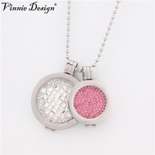 Vinnie Design Jewelry My Coin Sets with 33mm Rumba Crystal and 25mm Pink Crystal Coins Stainless Steel Silver Pendants Necklaces