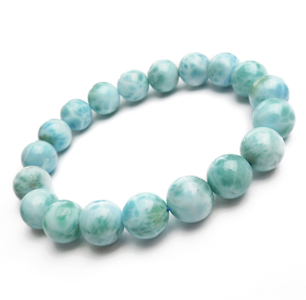Natural Blue Larimar Gemstone Round Beads 10mm Bracelet Stretch From Dominica Wedding Gift AAAAAANatural Blue Larimar Gemstone Round Beads 10mm Bracelet Stretch From Dominica Wedding Gift AAAAAA