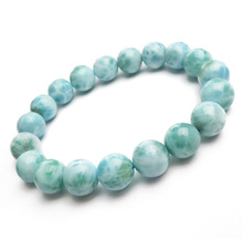 Natural Blue Larimar Gemstone Round Beads 10mm Bracelet Stretch From Dominica Wedding Gift AAAAAA цена в Москве и Питере