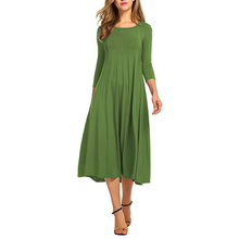 Top Sell Women Top Sell Casual Long Sleeve Round Neck A-line Swing Midi Dress Long Party Dress