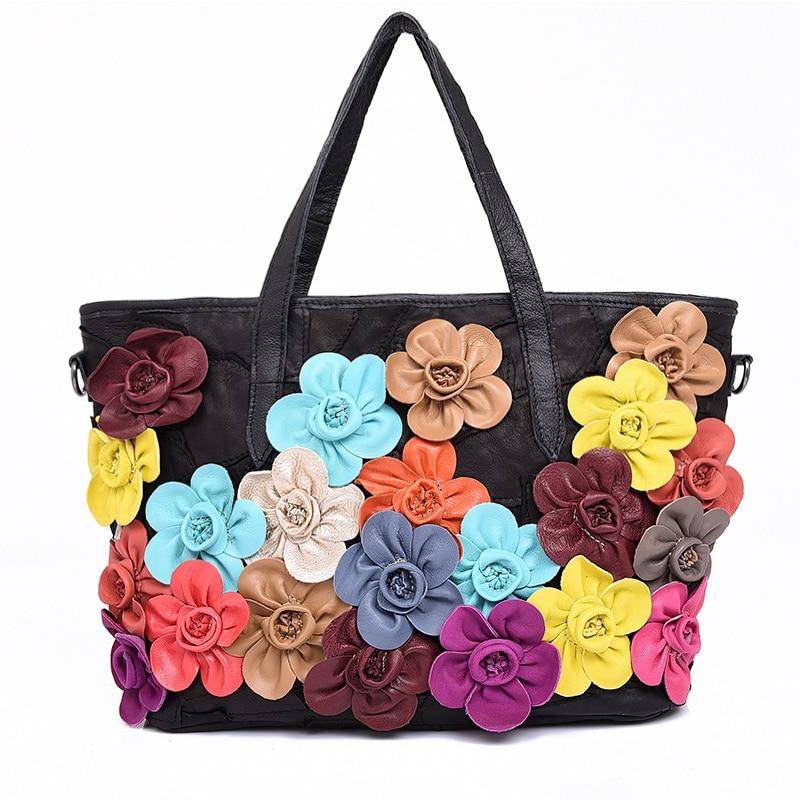 ФОТО 2017 spring sheepskin bag with flower woman big casual shopping bag genuine leather medium size portable shoulder tote bag