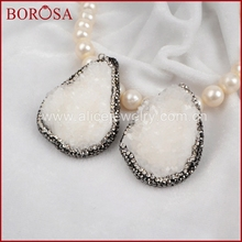BOROSA Natural Free-form White Stone Druzy Geode Pendant Druzy Jewelry Handcrafted Pave CZ Around Pendant for Necklace JAB147(China)