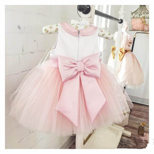 free shipping blush pink and white kids flower birthday clothes dress tie tulle Baby Girl Party Dress