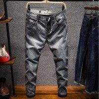 Fashion Men Slim Jeans Straight High Elasticity Feet Jeans Autumn Business Casual Mens Jeans Mid Waist