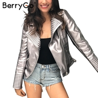 BerryGo Leder reißverschluss unten grundlegende jacke frauen Kühlen bling punk rock jacke mäntel 2017 Herbst party streetwear outwear jacke