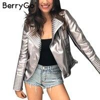 BerryGo Lederen rits down basic jas vrouwen Cool bling punk rock jacket jassen 2017 Herfst party streetwear uitloper jas