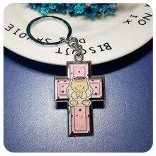 GRANDBLING Christian Angel Keychain Enamel Key Ring Cross Holder Gift