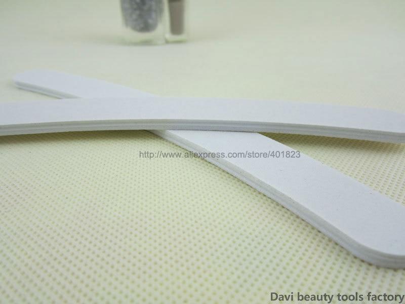 Emery файл 50 шт/партия Эмери доска полумесяц белый наждак, пилка для ногтей для дизайна ногтей