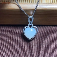 Certified Natural Hetian Jade Inlaid With 925 Sterling Silver Handmade Lucky Heart Pendant White High Quality Best Gifts
