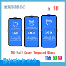10 pièces 10D couverture complète Protection verre trempé pour iPhone X XS 11 Pro Max XR 8 7 6 6S Plus Film protecteur décran