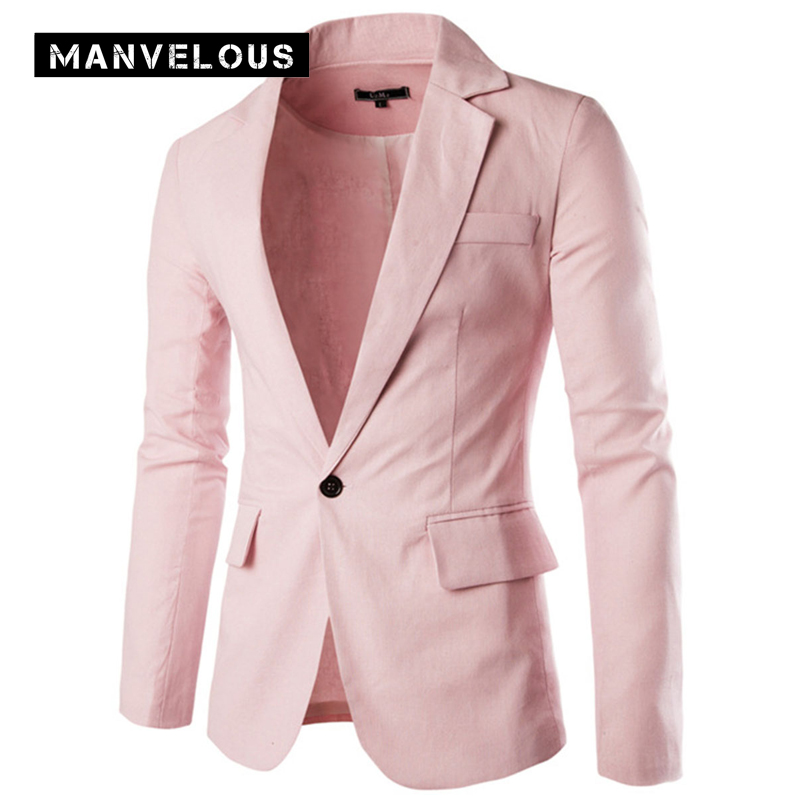Manvelous Men Leisure Blazer 2017 Fashion Multiple Colors Straight Long Sleeve Single Button Solid Black Mens Linen Suit Blazers