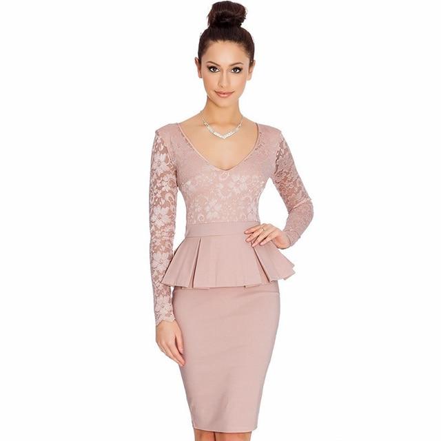 2016 весна лето новый бренд мода элегантный Bodycon офис леди кружева цветочные рюшами пр женщины карандаша для торжеств и ну вечеринку платье
