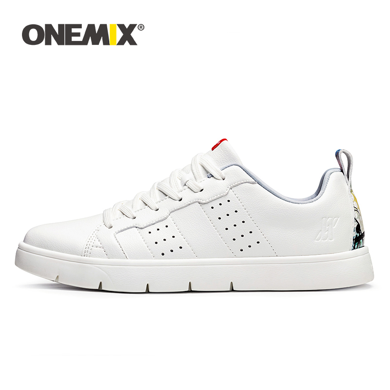 ONEMIX Men Casual Sneakers Unisex Skateboard Shoes 2019 New College Style Leather Breathable White Flat Jogging zapatillas mujerONEMIX Men Casual Sneakers Unisex Skateboard Shoes 2019 New College Style Leather Breathable White Flat Jogging zapatillas mujer
