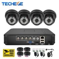 Techege HD 4CH 720P AHD DVR Kit CCTV System 4pcs 1.0MP AHD Dome IR Night Vision Video Camera P2P Security Surveillance Kit