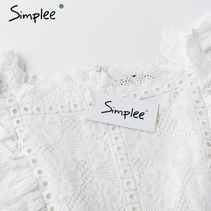 Image 5 - Simplee Elegant embroidery lace women dress Hollow out sashes ruffle white summer dress Slim sexy party lady dress vestidos 2019