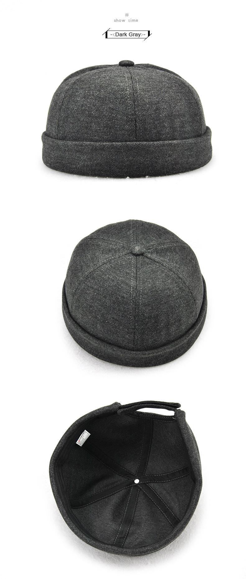2192ac93 JAMONT Round Hat Street Melon Hat Rolled Cuff Retro Landlord Caps ...
