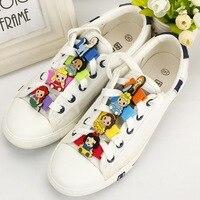 6PCS Princess Creative Cartoon Shoes Accessories PVC Soft Rubber Shoes Buckle Shoe Decorations Sports Shoe Shoelaces