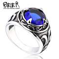 2016 New Vintage Man Woman Blue Stone Ring Jewelry Fashion Retro Cool Jewelry Ring Stainless Steel Ring  BR8-270