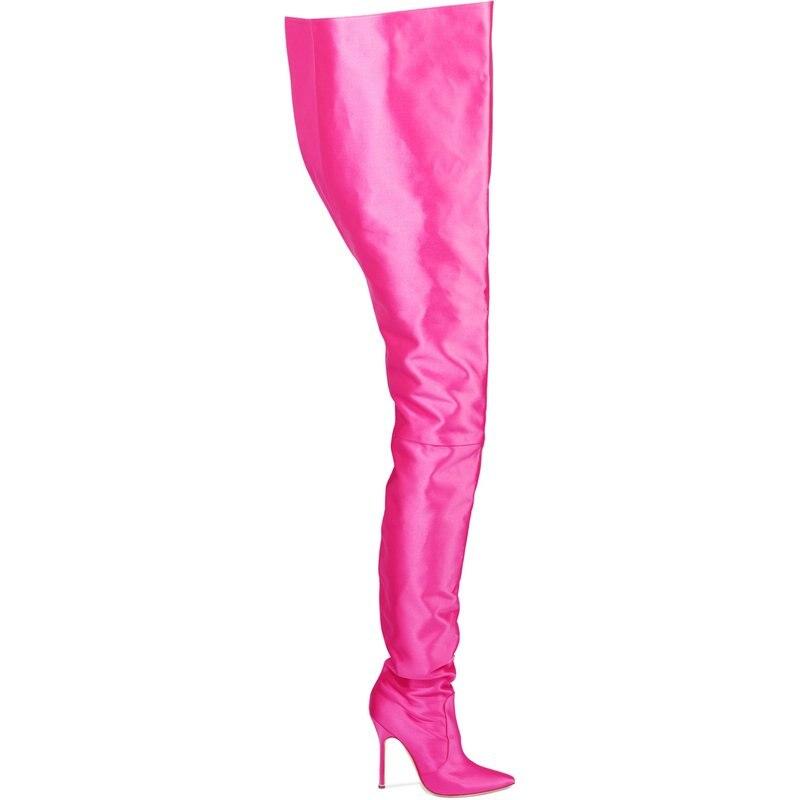 Picture Le Bottes Extrême Femme Botas Sexy Feminina Botines Chaussures Cuir as Genou Satin Talon Haute Rouge Sapatos As Picture En Cuisse Long Sur Entrejambe rxeWEQBdCo