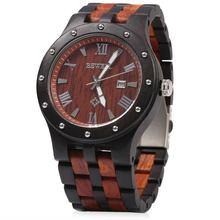 Bewell Luxury Brand Waterproof Wood Watch Men Quartz Watches Wooden Band Calendar Analog Male Elegant Wristwatches relogio(China)