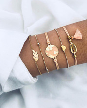5 PCS/Set Earth Shell Hrart Bracelet Bangle Set For Women Adjustable Summer DIY hand Jewelry Gift DropShipping