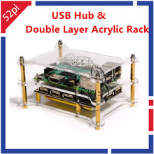 Discount! 52Pi New! 5-Port USB 2.0 Hub Power Supply Module with Double Layer Acrylic Rack for Raspberry Pi 3/2 Model B/A+/Pi Zero