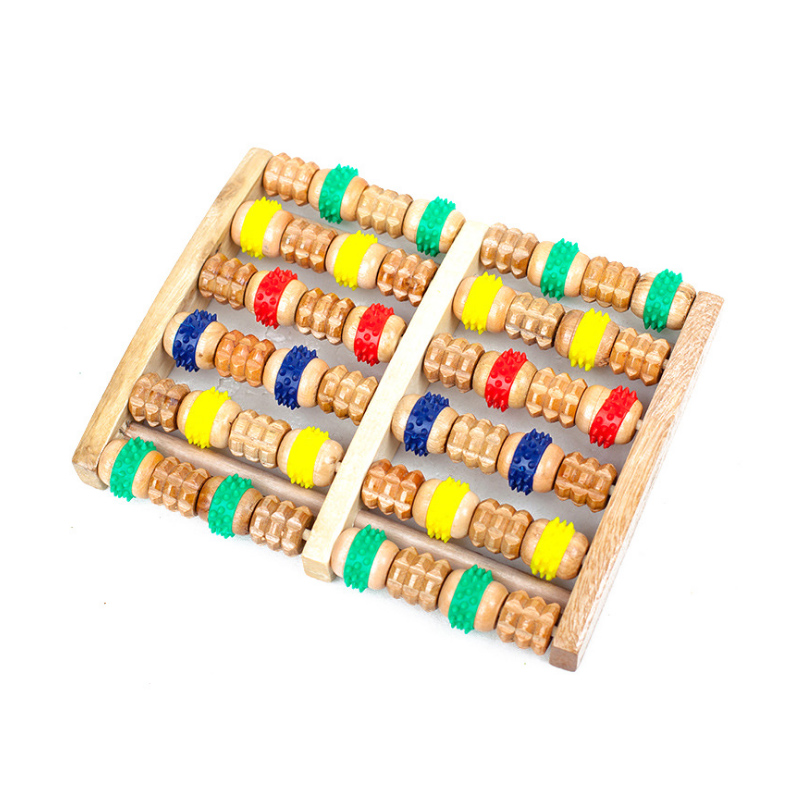 Colorful Wooden Foot Massager Roller Reflexology Stress Pain Relief Blood Circulation Promotion Foot Roller Care Instrument Care newly new 5 rows wheel wooden massager wood roller foot massager relax relief